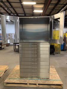 Custom stainless steel medical storage cabinet.